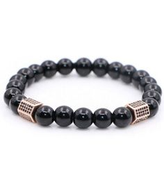 WK | 24K Rose Gold CZ Zircon Pillar Men's Beaded Bracelet