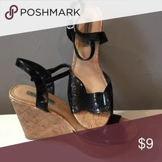 Black wedges sz8.5 cork wedge Black patent wedge heels size 8.5.  Worn twice. American Eagle by Payless Shoes Wedges