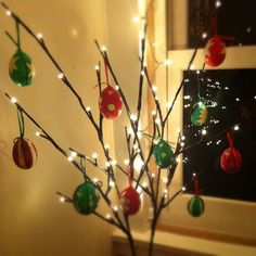 Hand painted eggs used as Christmas decorations