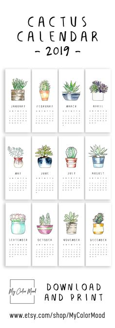 Printable calendar pages Small monthly calendar 2019 printable, Hanging cactus calendar, Succulent calender Cute office calendar - Printables - Modern cactus calendar 2019 for all the succulent lovers! These small printable calendar pages will - Monthly Calendar 2018, Office Calendar, Calendar Calendar, Small Calendar, Desk Calendars, Calendar 2019 Cute, Bullet Journal 2019 Calendar, Calendar 2019 Design, Calendar Doodles