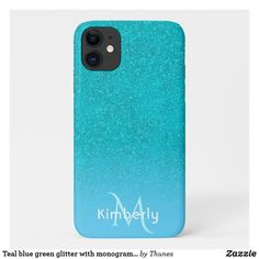 Teal blue green glitter with monogram name iPhone 11 case Iphone 11, Apple Iphone, Iphone Cases, Teal Blue, Blue Green, Green Glitter, Plastic Case, Christmas Gifts, Monogram