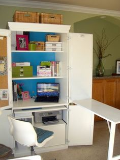 New house Beautiful office cabinets 53 ideasNew house Beautiful office cabinets 53 ideas houseNot calculated - a cabinet makeover Better afterwardsComputer cabinet after - white and aquaDesk Disgrace to Desk Delight San Diego, CA.Organize Space to Live Computer Armoire, Sewing Room, Home, Craft Armoire, Sewing Table, Diy Furniture, Fold Out Table, Retail Furniture, Office Cabinets