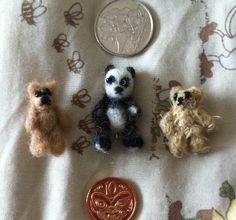 Micro Mini Bears - Needle Felted and Sewed.