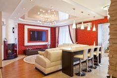 Нарядный потолок придаст гостиной шарма и роскоши