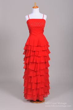 1970's Red Chiffon Tiered Vintage Evening Gown : Mill Crest Vintage