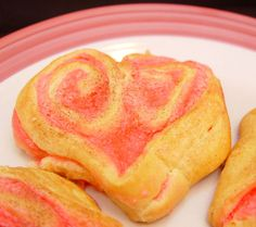 Cream cheese crescent rolls.  These are so pretty, would be lovely for Valentines brunch!