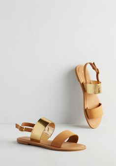 Energetic Entourage Sandal in Tan. Rising with the sun, you and your pals have a lively start to your day, so secure these tan sandals and increase your partys pep! #tan #modcloth