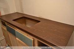 """My Stained """"I Can't Believe It's Cheap Pine"""" DIY Butcherblock Countertop (Plus, Vanity Paint Color Options)"""