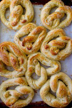 pretzels as pastries with different     sauces