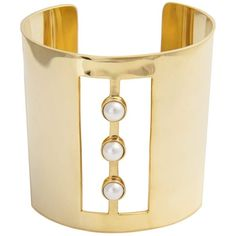 Edge of Ember - Trio Pearl Gold Cuff (€145) ❤ liked on Polyvore featuring jewelry, bracelets, gold jewellery, pearl jewelry, 18k bangle, cuff jewelry and gold bangles