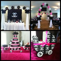 Chanel Theme Baby Shower by lelia Baby Girl Shower Themes, Unique Baby Shower, Baby Shower Gender Reveal, Baby Shower Cakes, Baby Boy Shower, Baby Shower Gifts, Baby Cakes, Diaper Cakes, Chanel Birthday Party