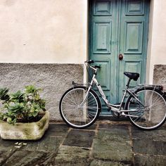 Green door and bicycle under the rain. Details of #Chiavenna prettiness - Instagram by 1step2theleft