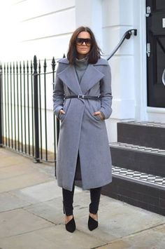 Oversized grey coat. Worn with a belt creates a whole new look.