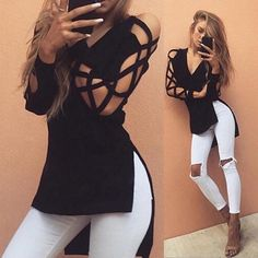Now available!! Limited editions!!! http://designsbyzuedi.myshopify.com/products/zanzea-new-blusas-2017-sexy-v-neck-hollow-out-long-sleeve-black-women-blouse-tops-casual-bandage-shirts-plus-size-blouses?utm_campaign=social_autopilot&utm_source=pin&utm_medium=pin ZANZEA New Blusas...