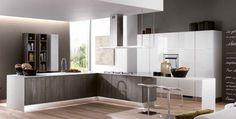"""Berloni """"Brera"""" kitchen #1.  Nobilitato Woody Grigio Torba  + Monolaccato Bianco Calce"""