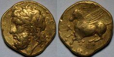 Syracuse Gold Hemidrachm - Third Democracy, Timoleon - ca. 344 - 335 BC. 2.1g, 12mm.  Zeus on obverse, Pegasus on reverse