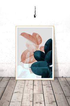 Blush Pink Leaves, Above Bed Wall Art, Wedding Gift, Blue Plant Print, Botanical Poster, Tropical Leaf, Digital Print Download Printable Art **************************************************** ❗️ PLEASE NOTE: 1 | This is a digital download item. No physical item will be shipped. 2 |