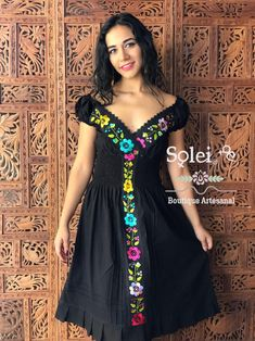 This Beautiful Dress is Fun and flirty. It's hand embroidered with silk thread and has elastic on the back for a tighter fit. Mexican Embroidered Dress, Mexican Blouse, Mexican Outfit, Mexican Dresses, Embroidered Blouse, Mexican Clothing, Beautiful Blouses, Beautiful Dresses, Mexico Dress