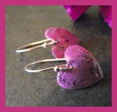 Purple Hearts - Enamelled earrings  £12.00