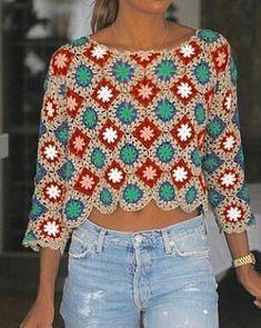 Na obrázku může být: stojící lidé Pull Crochet, Gilet Crochet, Crochet Jumper, Crochet Wool, Crochet Blouse, Granny Square Crochet Pattern, Crochet Stitches Patterns, Crochet Granny, Crochet Clothes