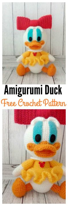 Amigurumi Duck Free Crochet Pattern Amigurumi Duck Free Crochet Pattern Free pattern and Tuto. Crochet Pattern Free, Crochet Gratis, Crochet Patterns Amigurumi, Crochet Dolls, Knitting Patterns, Crochet Patron, Crochet Disney, Crochet Animals, Stuffed Toys Patterns