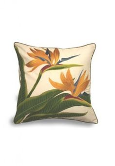 """$29.95 - """"BIRD OF PARADISE"""" - Embroidered Pillow Cover!"""