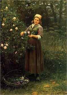 DANIEL RIDGWAY KNIGHT - Cutting Roses