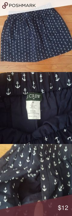 J. Crew Anchor Skirt Navy blue skirt with white anchors. Pockets in the front, elastic waistband. Tag is slightly loose otherwise skirt is in perfect condition. J. Crew Skirts