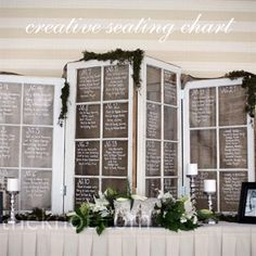 Most Insta-Worthy Flower Ideas We've Ever Seen Using old window panes with chalk paint to organize the seating assignments.Using old window panes with chalk paint to organize the seating assignments. Wedding Table Assignments, Seating Chart Wedding, Seating Charts, Old Window Panes, Window Frames, Window Ideas, Window Shutters, Window Art, Old Windows