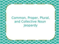 This is a Jeopardy game that is great for reviewing common, proper, plural, and collective nouns.The children have a great time and learn while playing! By using in document hyperlinks, I have made the Powerpoint work as an actual Jeopardy game would.