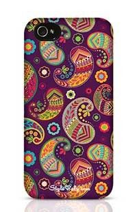 Violet Pattern In Paisley Style Apple iPhone 4S Phone Case