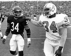 Two legends- Walter Payton and Earl Campbell, aka The Tyler Rose in 1980, when Earl played for the Houston Oilers.