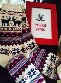 Present for Christmas #deer #christmas #gift #embroidery #cross-stitch #socks