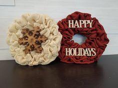 Small Holiday Wreaths. . . #goldenforrest #goldenforrestcreations #burlapwreath #burlap #wreath #red #happyholidays #snowflake #doordecor #holidaydecor #christmasdecor #seasonaldecor #wreathidea Holiday Wreaths, Christmas Decorations, Happy Holidays, Christmas Holidays, Seasonal Decor, Holiday Decor, Burlap Wreath, Snowflakes, Red