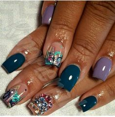 Cute for short nails Beautiful Nail Designs, Cute Nail Designs, Manicure Y Pedicure, Manicure Ideas, Pedicures, Sparkle Nails, Glitter Nails, Abstract Nail Art, Long Nail Art