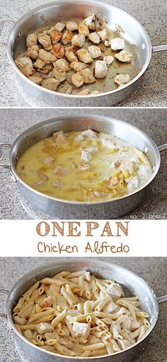 Perfect for busy week nights! One Pan Chicken Alfredo Pasta, even the pasta cooks in the same pan.