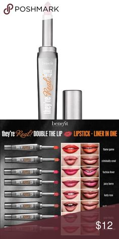 They're Real! Double The Lip Lipstick & Liner in 1 Lipstick Colors, Red Lipsticks, Makeup Lipstick, Benefit Makeup, Benefit Cosmetics, Pink Roses, Red Color, Mini, Lip Colors