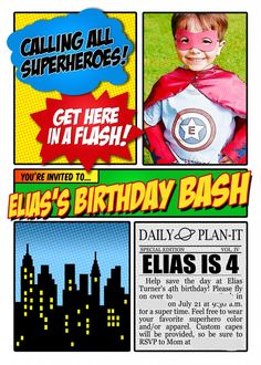 Superhero theme party - lots of ideas on this page. I like this invitation, looks like ComicLife was used to make it.