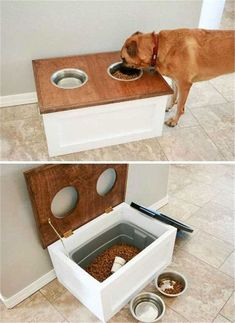Top 27 DIY Ideas How to Make a Perfect Living Space for Pets DIY Dog Food Station with Storage underneath. Top 27 DIY Ideas How to Make a Perfect Living Space for Pets DIY Dog Food Station with Storage underneath. Dog Feeding Station, Dog Station, Diy Home Decor For Apartments, Diy House Decor, House Decorations, Diy Home Decor On A Budget, Diy House Ideas, House Ideas On A Budget, Apartment Decorating On A Budget