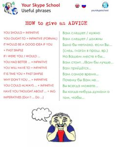 Advice vocab. Visit www.russiancentre.co.uk for information on group courses and individual Russian tuition.
