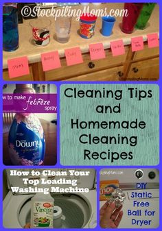 Cleaning Tips and Homemade Cleaning Recipes that will save you time and money.  I love the DIY static ball and febreeze!