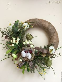 Купить Пасхальный декор Венок весенний - венок, венок пасхальный, венок на дверь, венок декоративный