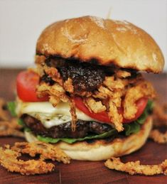 Sweet Bourbon Burgers with Crispy Onion Straws