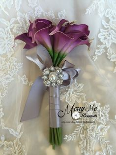 Purple Calla Lily Bouquet  True Touch Lily by MerryMeBouquets