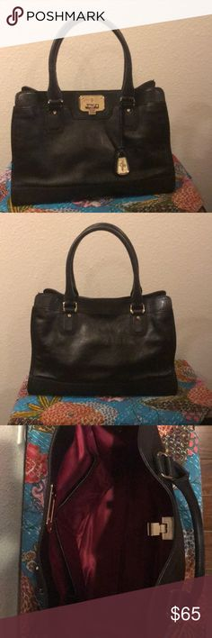 """Cole Haan black leather purse Cole Haan black leather purse. Excellent used condition from smoke free home.  3 interior side pockets - one zip, two open.  Approximate measurements: 13"""" wide, 11"""" high, 4"""" deep. Cole Haan Bags Shoulder Bags"""