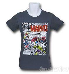 Avengers T-Shirt - Classic Panels on Charcoal