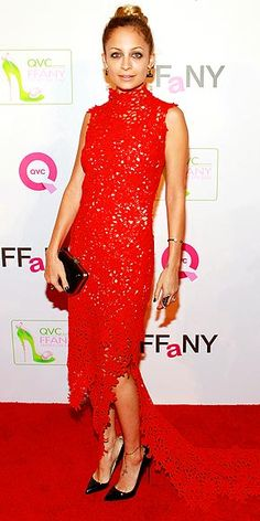 NICOLE RICHIE  From short and velvet to long and lacy, the star shows her versatility, selecting a high-necked sleeveless gown, House of Harlow 1960 jewels and black patent accessories for the QVC FFANY event in N.Y.C.