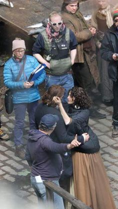 Sam and Cait filming season 2 of Outlander