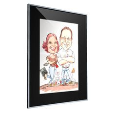 Erilainen häälahja - karikatyyritaulu, johon voi upottaa hauskoja yksityiskohtia pariskunnan matkan varrelta.