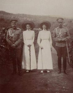 The Grand Duchesses Olga (left) and Tatiana (right) during an excursion (possibly Oreanda Farm) in the company of Alexander Alexandrovich Drenteln (left) and Count Alexander Illarionovich Vorontsov-Dashkov (right), 1911